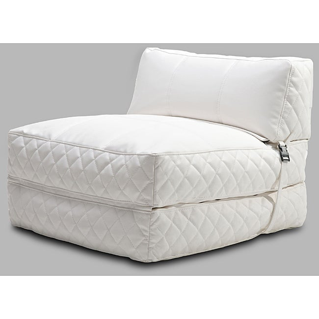 Gold Sparrow Austin White Bean Bag Chair Bed (Leather)
