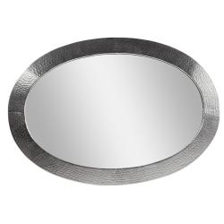 Satin Nickel Hammered Copper Oval Mirror