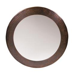 Hammered Copper Round Mirror