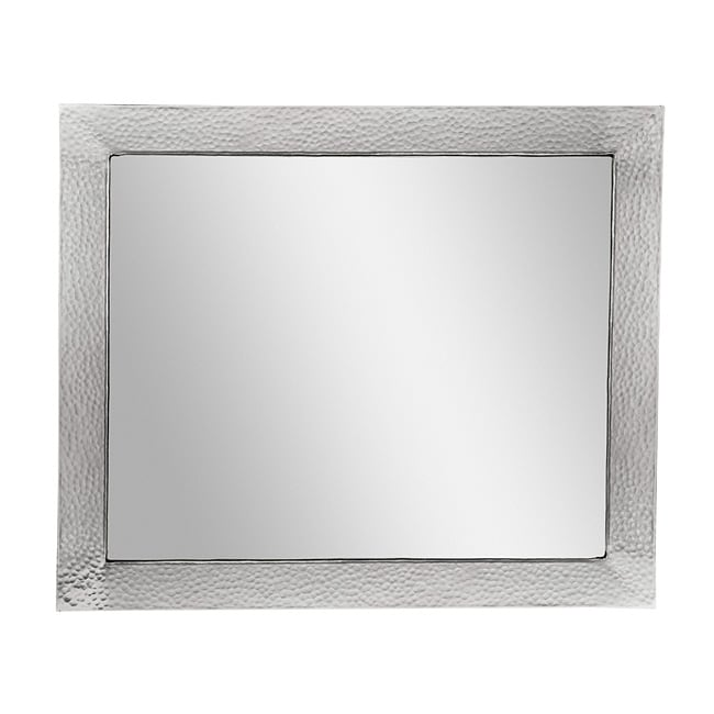 Satin Nickel Hammered Copper Rectangular Mirror