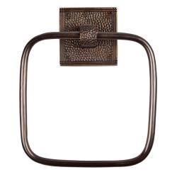 The Copper Factory Antiqued Hammered Copper Square Towel Ring