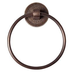 The Copper Factory Antiqued Hammered Copper Round Towel Ring