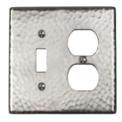 Solid Copper Satin Nickel Two-Gang Combination Switch Cover