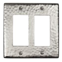 Satin-Nickel-Finish Solid Copper Double-GFI Switch Plate