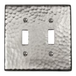 Hand-Hammered Solid Copper Double Switch Plate