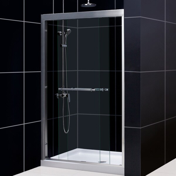 dreamline duet 44 48 inch frameless bypass sliding shower door free shipping today. Black Bedroom Furniture Sets. Home Design Ideas