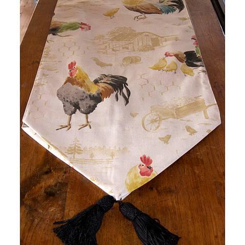 RLF Home Rooster Strut Speckle Tasseled Table Runner