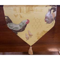 RLF Home Rooster Strut Yolk Tasseled Table Runner