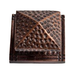 Large Pyramid Copper Cabinet Knob with Square Backplate (Pack of 2)