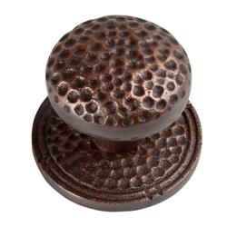 Large Round Copper Cabinet Knob with Backplate (Set of 2)