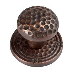 Small Round Copper Cabinet Knob with Backplate (Set of 3)