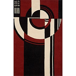 "Modern Art Red Hand-Tufted Wool Rug (3'6"" x 5'6"")"