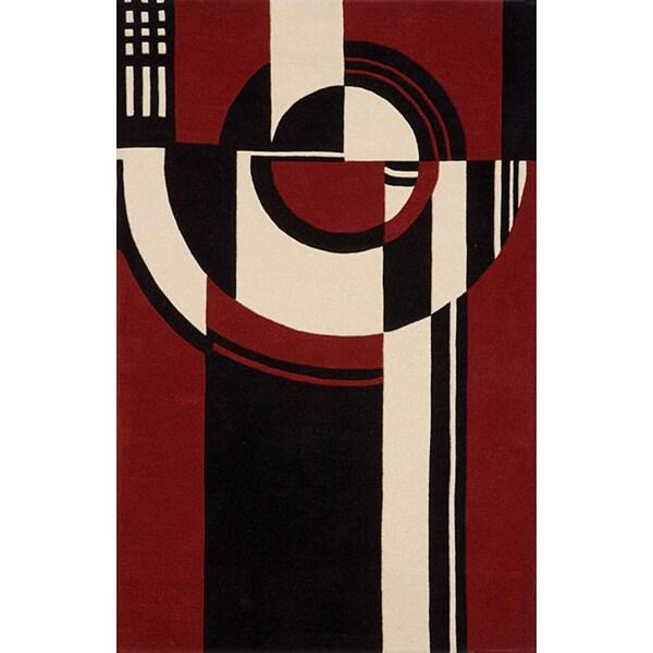 Modern Art Red Hand-Tufted Wool Rug (8' x 10')
