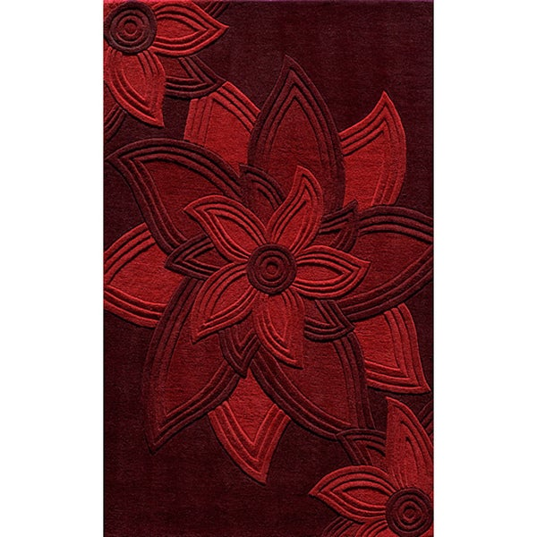 Lotus Red Hand-Tufted Wool Rug (5' x 8')