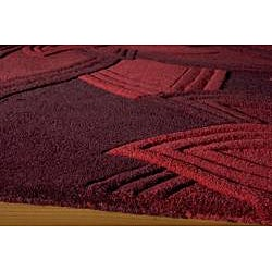 Lotus Red Hand-Tufted Wool Rug (8' x 10') - Thumbnail 1