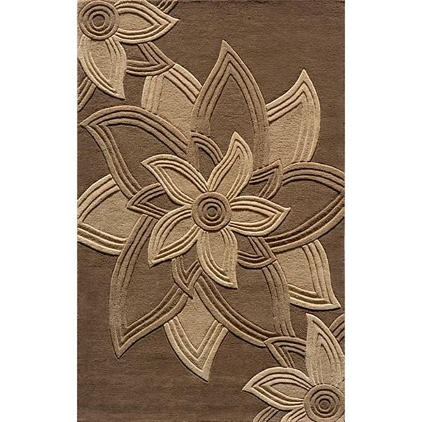 Lotus Mocha Hand-Tufted Wool Rug (5' x 8')