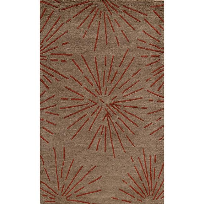 Hand-tufted Metropolitan Burst Khaki Wool Rug (5' x 8')