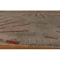 Hand-tufted Metropolitan Burst Khaki Wool Rug (5' x 8') - Thumbnail 1