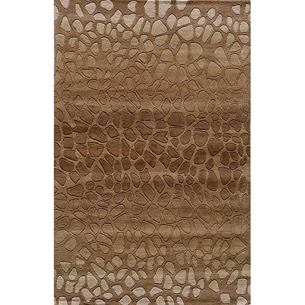 Shop Ombre Stones Brown Hand Tufted Wool Rug 8 X 10