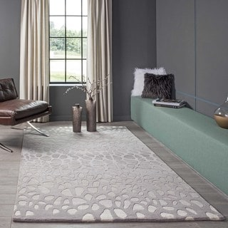 Ombre Stones Silver Hand-Tufted Wool Rug (3'6 x 5'6)