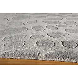 Ombre Stones Silver Hand-Tufted Wool Rug (5' x 8') - Thumbnail 1
