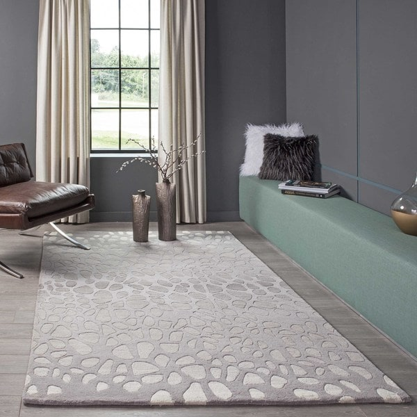 Ombre Stones Silver Hand Tufted Wool Rug 8 X 10 Free