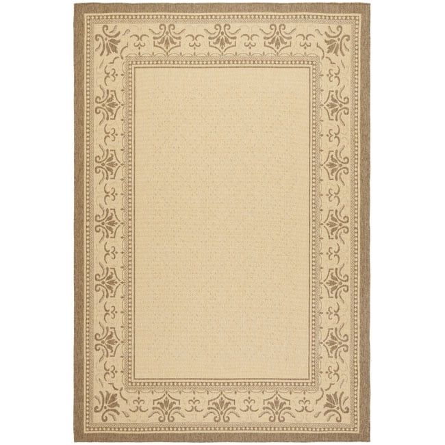 Safavieh Courtyard Majesty Natural/ Brown Indoor/ Outdoor Rug Set (6'6 x 9'6 and 1'8 x 2'8)