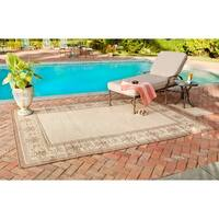 "Safavieh Courtyard Majesty Natural/ Brown Indoor/ Outdoor Rug Set - 6'6"" x 9'6"""
