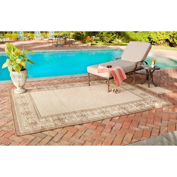 "Safavieh Courtyard Majesty Natural/ Brown Indoor/ Outdoor Rug Set - 6'-6"" x 9'-6"""