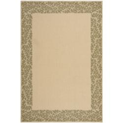 Safavieh Outdoor Floral Natural/ Green Rug Set (6'6 x 9'6 and 1'8 x 2'8)