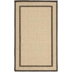 Safavieh Courtyard Border Natural/ Chocolate Indoor/ Outdoor Rug Set (6'6 x 9'6 and 1'8 x 2'8) - Thumbnail 1