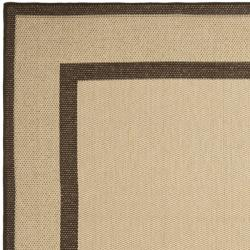 Safavieh Courtyard Border Natural/ Chocolate Indoor/ Outdoor Rug Set (6'6 x 9'6 and 1'8 x 2'8) - Thumbnail 2
