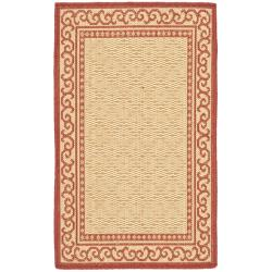 Safavieh Courtyard Scroll Border Natural/ Red Indoor/ Outdoor Rug Set (6'6 x 9'6 and 1'8 x 2'8) - Thumbnail 1