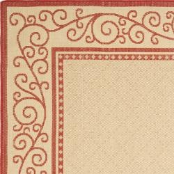 Safavieh Courtyard Scroll Border Natural/ Red Indoor/ Outdoor Rug Set (6'6 x 9'6 and 1'8 x 2'8) - Thumbnail 2