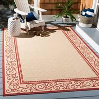 Safavieh Courtyard Scroll Border Natural/ Red Indoor/ Outdoor Rug Set
