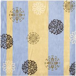 Safavieh Handmade Eternity Blue/ Gold New Zealand Wool Rug (6' Square)