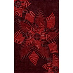 """Lotus Red Hand-Tufted Wool Rug (3'6"""" x 5'6"""")"""