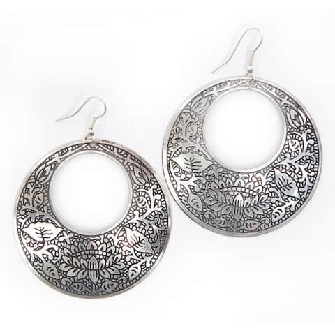 Handmade Brass Impression Hoop Earrings (India)