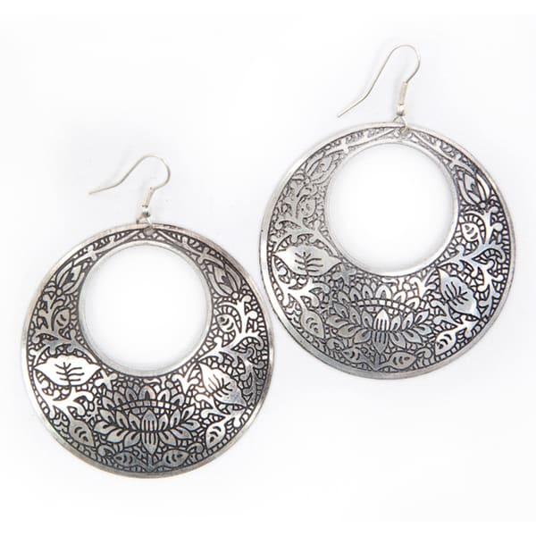 Handmade Brass Impression Hoop Earrings (India)