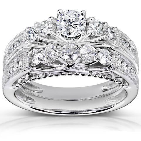 Annello by Kobelli 14k Gold 1 1/4ct TDW 5-stone Diamond Bridal Ring Set