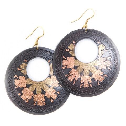 Handmade Brass Tri-flower Earrings (India)