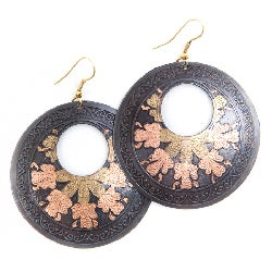 Handmade Brass Tri-flower Earrings (India)