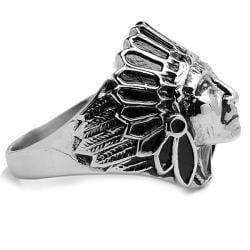 Oliveti Stainless Steel Indian Chief Head Ring - Thumbnail 1