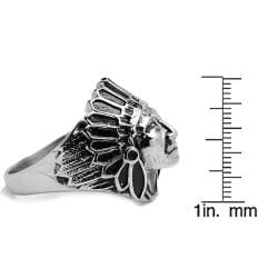 Oliveti Stainless Steel Indian Chief Head Ring - Thumbnail 2