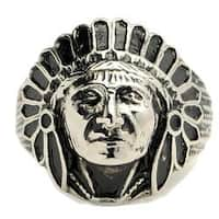 Oliveti Stainless Steel Indian Chief Head Ring