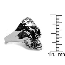 Oliveti Stainless Steel Men's Skull and Flag Bandana Ring