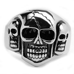Oliveti Stainless Steel Men's Three Skull Ring