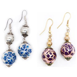 Rose Wood Bead Earrings (India)