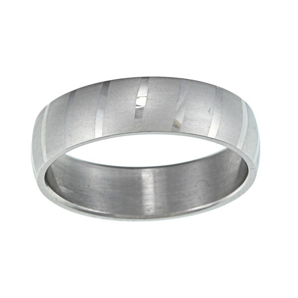 Stainless Steel Dual Polish Striped Wedding Band