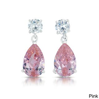 Collette Z Sterling Silver Colored And Clear Cz Earrings